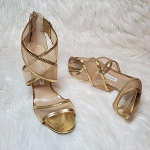 Gold mesh heels Diane Von Furstenberg size 8